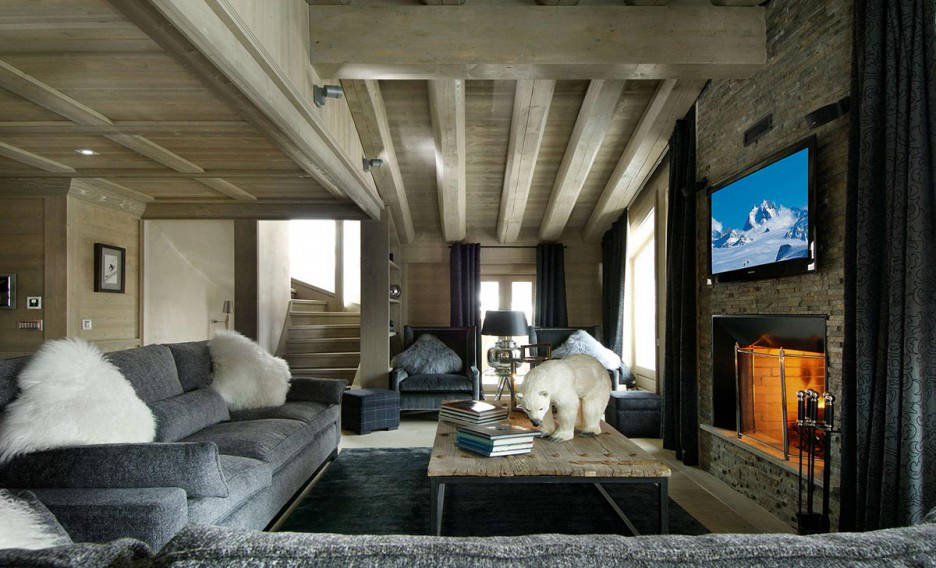 Rustic apartment fireplace