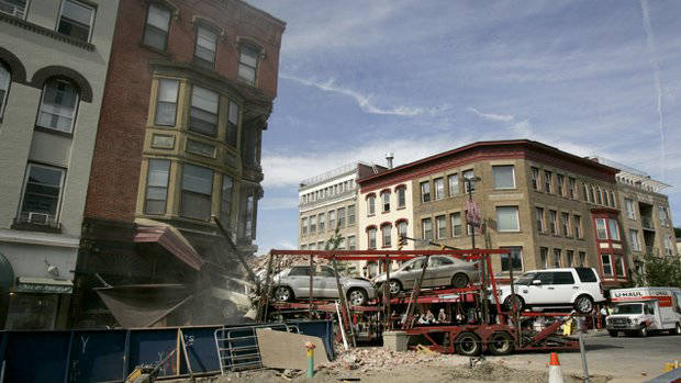 Truck collision with building