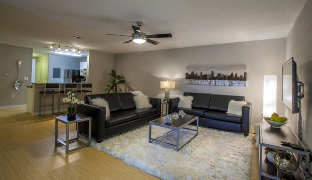 Modern living room space at The Boulevard with breakfast bar cranny