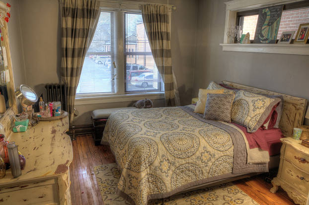Inviting Maryland Gardens bedroom with oversized windows