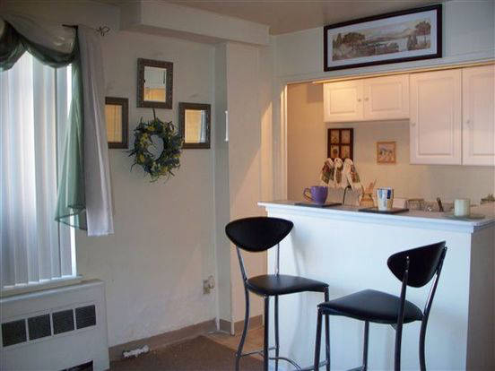 Intimate Missouri Apartment kitchen and dining area with breakfast bar